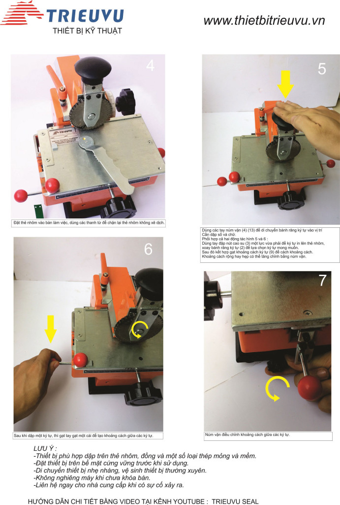 Hướng dẫn sử dụng máy dập chữ số trên thẻ kim loại 01
